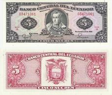 Ecuador  P. 113d  5 Sucres 22.11.1988 IA 03471061 UNC - Ecuador