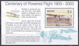 Belize 2003 Transport Flugzeuge Aeroplanes Planes Motorflug Wright Persönlichkeiten Charles Lindbergh, Bl. 101 ** - Belize (1973-...)