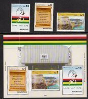 MAURITIUS, 2018, MNH, 50th ANNIVERSARY OF INDEPENDENCE, SHIPS, HARBOURS, NATIONAL ANTHEM, 3v+SHEETLET - Celebrations