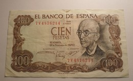 1970 - Espagne - Spain - 100 PESETAS - Madrid, 17 De Novembre De 1970, 7V4876214 - 100 Pesetas