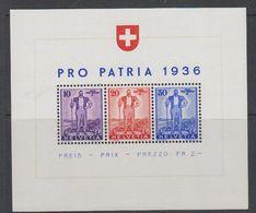 Switzerland 1936 Pro Patria M/s ** Mnh (42171) - Pro Patria