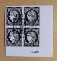 Cérès Bloc 4T Coin Daté 0.20 € Bord De Feuille Non Dentelé, 170 Ans Premier Timbre - OBLITERE 1er JOUR 14.03.19 - France