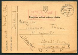 1944 Czechoslovakia Censor Fieldpost Postcard. Polna Poste, Bratislava - Czechoslovakia