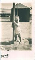 BOYS GARCONS Serious Cute Boy S Nude Nue In Swimsuit Pole Dance By Beach Carte Photo 1946 Postcard - Personas Anónimos