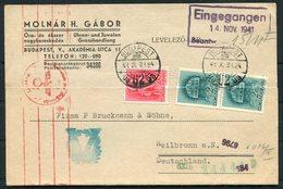 1941 Hungary Budapest HG Molnarh Jewelery Typewriter Postcard - Heilbronn Germany. Censor, Victory V - Ungheria