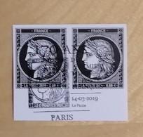 FRANCE 2019 170 Ans Du Premier Timbre-poste Français CÉRÈS Paire Bord Feuille Issu Bloc - OBLITERE 1er JOUR 14.03.19 - France