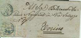 REGNO-LETTERA VIAGGIATA 1863-TIMBRO POSTE SAN PIER D'ARENA - TORINO, AMB. GENOVA-VENEZIA, - 1861-78 Vittorio Emanuele II