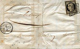 Cérès 20c Noir (YT N° 3) Sur Lettre De La Ferté Sous Jouarre Pour Meaux, Datée Du 21/03/1851. - 1849-1850 Cérès