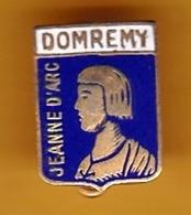 Broche Laiton émaillé - Domrémy (54) - Jeanne D'Arc - Pas Un Pin's - Ecusson - Armoiries - Blasons - Héraldique - Ville - Souvenirs