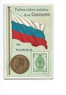 RUSSIA RARE +/- 1900 Russie Chromo Carte Coin Drapeau Timbre/chromo Stamp Flag Map 70 X 45 Mm TB  2 Scans - Chocolate