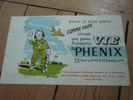 Buvard  Assurance Vie Au PHENIX. Aviateur, état Moyen Blouson Vert Clair - Banque & Assurance