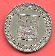 25 Centimos , VENEZUELA , Nickel , 1965 , N° KM # 40 - Venezuela