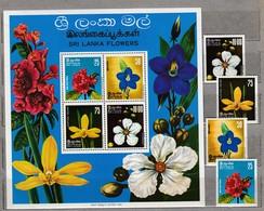 CEYLON SRI LANKA 1976 Flowers MNH(**) Mi 444-447 Bl 4 #23916 - Sri Lanka (Ceylan) (1948-...)