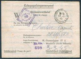 1945 France Prisoner Of War Letter, Kriegsgefangenenpost - Stalag 4A Hohnstein,Saxony Germany Censor. Levalois Perret - France