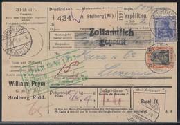 DR Paketkarte Mif Minr.87I, 88I, 94AI Stolberg (Rl.) 12.2.15 Gel. In Schweiz - Deutschland