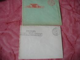 Lot De 2 Griffe Cachet Bureau Frontiere H  Bleu Et Rouge Cachet Franchise Postale Militaire Guerre 14.18 - Marcophilie (Lettres)