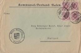 Württemberg Brief Mef Minr.4x 154  4er Block Aalen 3.6.22 - Wuerttemberg