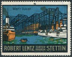 Germany Poland Stettin Szczecin Werft Vulcan Shipyard Ship Boat Steamer Schiff Dampfer Boot Vignette Poster Reklamemarke - Bateaux