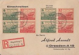 SBZ Prov. Sachsen Mif Minr.4x 90, 4x 91 Magdeburg 23.3.46 Gel. Nach Dresden - Sowjetische Zone (SBZ)
