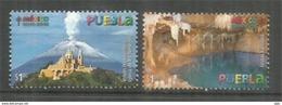 Volcan De Popocatepetl 5500 M & Grottes Karmidas à Puebla. Mexique.  2 Timbres Neufs ** - Vulkane