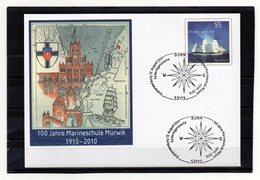BRD, 2010, Ganzsachen-Umschlag Mit Michel 2686 Und Erstverwendungsstempel, 100 Jahre Marineschule Mürwik - [7] République Fédérale