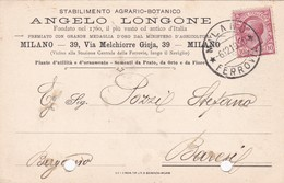 STORIA POSTELE - MILANO - STABILIMENTO AGRARIO - BOTANICO - VIAGGIATA  PER BERGAMO - Storia Postale