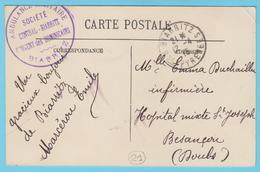 G.B. 01 - CPA Avec Cachet De Franchise - N° 21 - Ambulance Sanitaire Couvent Des Dominicains Biarritz (64) - Marcophilie (Lettres)