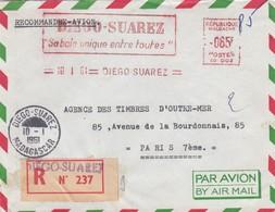 LETTRE COVER. MADAGASCAR. RECOMMANDÉ ET EMA 85F DIEGO-SUAREZ PAR AVION POUR PARIS - Madagascar (1889-1960)