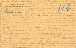 """Héverlé - Louvain ,( Leuven )  , Carte Publicité ,  Société Et Revue """" L'art à L'école Et Au Foyer """" - Renaix - Ronse"""
