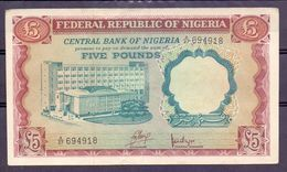 Nigeria  5 Pounds Fake Forgery Faux Vals  ( Original ) - Banknotes