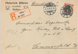 R-Brief Heinrich Jöhren Guben Nach Sommerfeld Ziegelwerke - Lettres & Documents