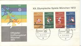 GERMANY Olympic Cover With Handcancel Opening München 2 26.-8.1972 A On Olympic Sheet - Estate 1972: Monaco
