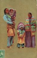 Indiens D'amerique Du Nord Famille Carte Embossée Voyagée 1910 De Newark Usa - Indiens De L'Amerique Du Nord