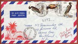 Illustrierter Umschlag Kia Orana, Luftpost, MiF Riffreiher U.a., Cook Islands Nach Herne Bay 1983 (70810) - Aitutaki