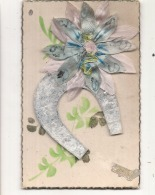 Fleur Enrubanée - Tissus Et Fer à Cheval Découpis Argent - A Systèmes