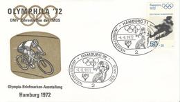 GERMANY Olympic Cover Stamp Exhibition With Handcancel Cycling Hamburg 36 Of -4.-6.1972 On Olympic Stamp - Summer 1972: Munich