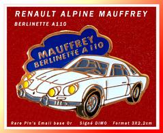 """SUPER PIN'S ALPINE RENAULT : L'ALPINETTE A110 Du Pilote De RALLYE """"MAUFFREY"""" D'Epinal Signé DIMO, - Renault"""