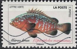 France 2019 Oblitéré Used Poissons De Mer Mérou Brun Epinephelus Marginatus - 2010-.. Matasellados