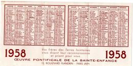 Calendrier De 1958 De L'OEUVRE PONTIFICALE DE LA SAINTE-ENFANCE  Photo Province De Madras En Indes Et Sud Ouest Africain - Calendriers