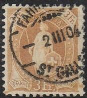 Schweiz, 2.3.1904, Fahrpost St. Gallen, 72E, Stehende Helvetia, Vollstempel, Siehe Scan! - Oblitérés