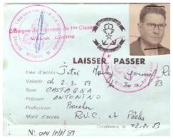 LAISSER PASSER  CASABLANCA  1983-1ère BASE NAVALE DE LA MARINE ROYALE -SECURITE MILITAIRE - Documents