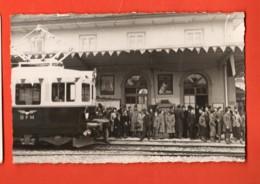 TRW-32 CArte-Photo Inauguration Traction électrique Sur Le Train Bulle-Romont Gare 9nov.1946.Non Circ. Glasson - FR Fribourg
