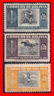 BOLIVIA ( AMERICA DEL SUR ) 3 SELLOS 1951 AIRMAIL - THE 400TH ANNIVERSARY OF THE FOUNDING OF LA PAZ - Bolivia