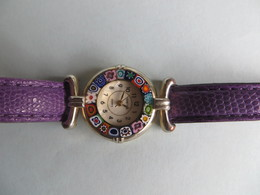 Montre Femme Quartz -  Murano Glass Verre Fleurs De Murano Multifiori- Bracelet Cuir - Etat De Marche - Venetiae Watch - Montres Modernes