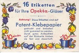 Klebeetiketten Opekta-Gläser - Patent-Klebepapier - Heftchen Mit 11 Stück (40116) - Etiketten