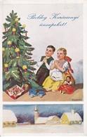 AK Boldog Karacsonyi ünnepeket - Kinder Mit Weihnachtsbaum - Dorf Im Schnee - Ungarn (40117) - Etiketten