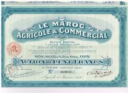 Titre Ancien - Le Maroc Agricole & Commercial Société Anonyme - Titre De 1920 - Agriculture