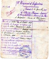 78 Eme RI Note Informant Du Déplacement Du Corps Du Soldat Jardinier Julien Au Cimetiere Militaire De Roclincourt - Documents