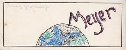 Lesezeichen - Globus - Handzeichnung - Ca. 1940/50 - 15*6cm (40118) - Kreative Hobbies