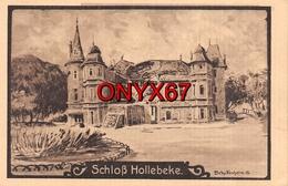 HOLLEBEKE Près Ypres-Ieper (Belgique-Flandre-Flandern) Schloss Château  Illustrateur-Dessin-Guerre-Krieg-Feldpostkarte - Ieper